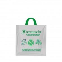 Bolsa de plástico reciclado gris para farmacia con asa de lazo, la bolsa tiene una medida de 25x25 centímetro