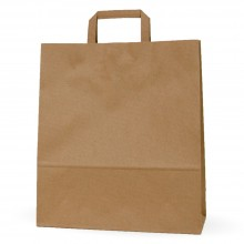 Camel 32+12x37 | Bolsa de papel kraft marrón con asa plana (Caja 125uds.)