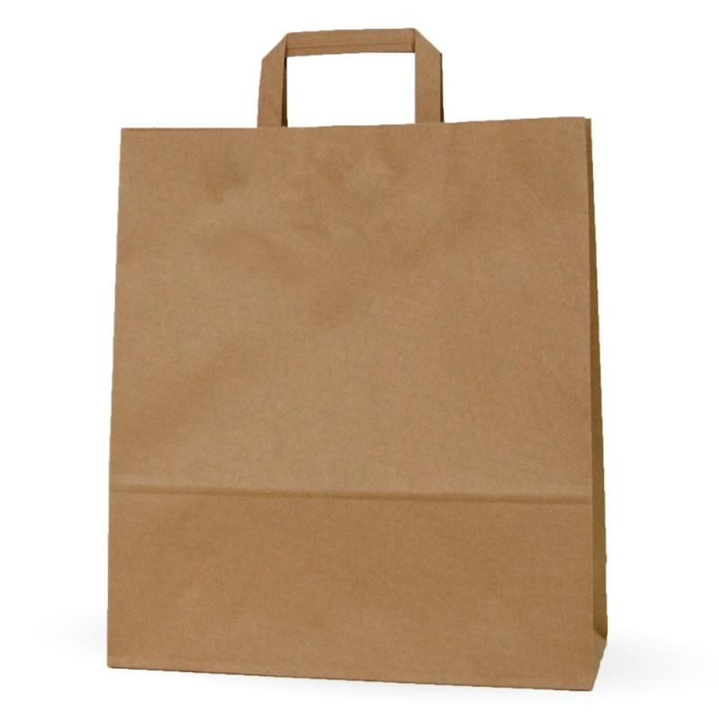 cd547221d Camel 32+12x37 | Bolsa de papel kraft marrón con asa plana (Caja 125uds