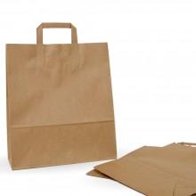 Bolsa de papel kraft con asa plana, fabricada con papel de color marrón de 100 gramos