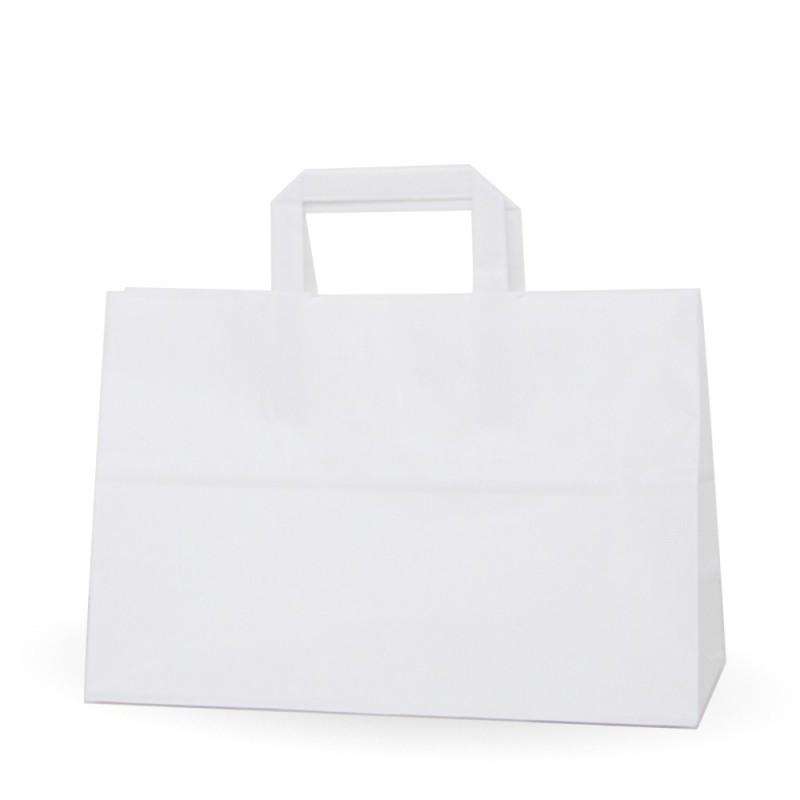Bolsa de papel blanca con asa plana, fabricada con papel de color blanco de 100 gramos, con una medida de 32+12x22