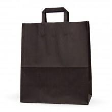 Bolsa de papel negra con asa plana, medida 32+17x40