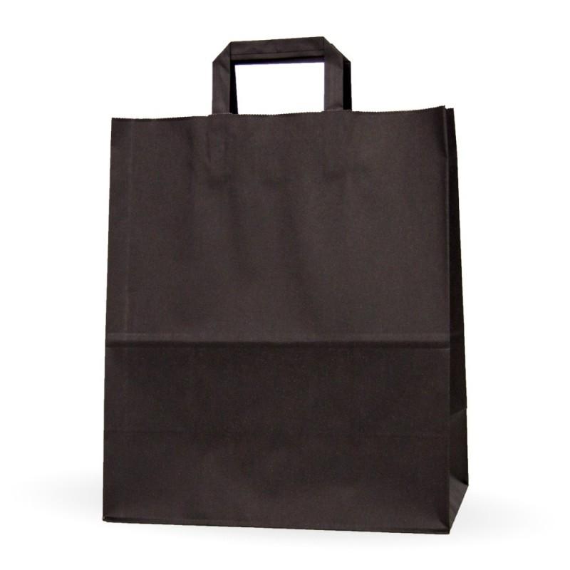9b415b2e3 Caja de 125 unidades de bolsas de papel con asa plana de color negro,  disponible en varias medias, un bolsa genérica de un color llamativo para  tu negocio, ...