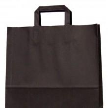 Bolsa de papel negra con asa plana, fabricada con un papel de 100 gramos y una medida de 32+17x40 cm