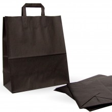 3eab3fd9d Bolsa de papel negra con asa plana. Caja 125uds. - Medida:32+17x40 cm