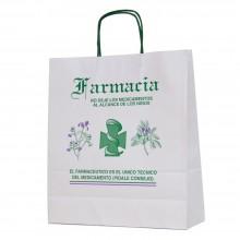 Bolsa de papel blanca impresa para farmacia con asa retorcida o rizada con una medida 32+12x37 centímetros