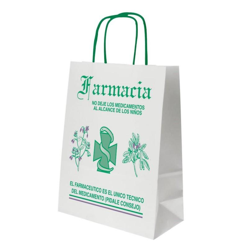 Bolsa de papel blanca impresa para farmacia con asa retorcida o rizada con una medida 24+11x32 centímetros
