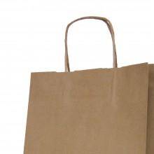 Bolsa de papel con asa plana color kraft marrón de 100 gramos y con una medida 24+11x32