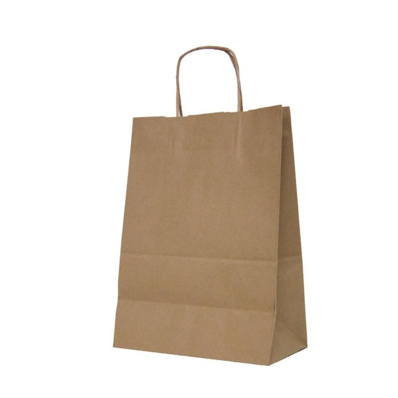Camel 24+11x32 | Bolsa de papel kraft marrón con asa retorcida