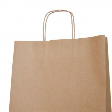 Bolsa de papel con asa retorcida o rizada color kraft marrón de 100 gramos y con una medida 32+12x43