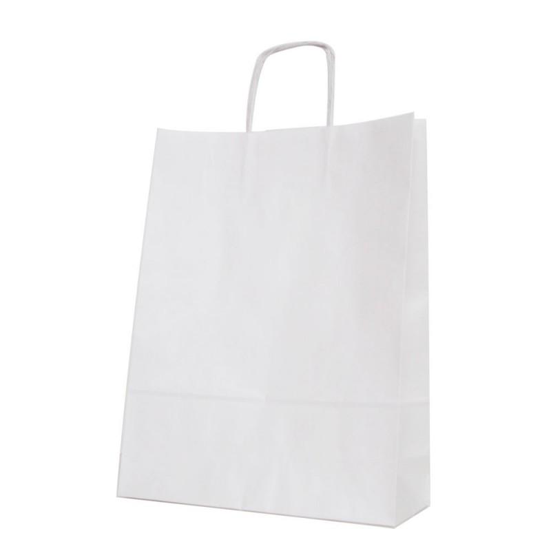 Bolsa de papel blanca con asa retorcida o rizada color blanco de 100 gramos y con una medida 32+12x42 cm