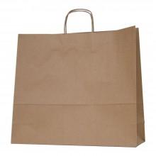 Bolsa de papel kraft marrón con asa retorcida | 45+14x40 cm | Caja 100uds.