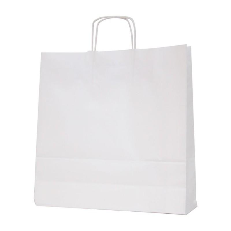 Bolsa de papel blanca con asa retorcida o rizada color blanco marrón de 100 gramos y con una medida 37+12x37