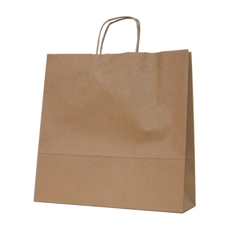 Bolsa de papel kraft marrón con asa retorcida o rizada color kraft camel de 100 gramos y con una medida 32+12x37