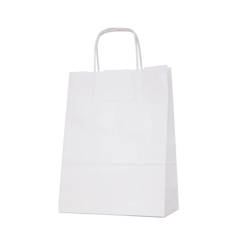 Bolsa de papel blanca con asa retorcida o rizada color blanco marrón de 100 gramos y con una medida 24+11x32