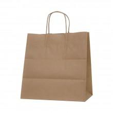 Bolsa de papel kraft marrón con asa retorcida | 30+19x32 cm | Caja 125uds
