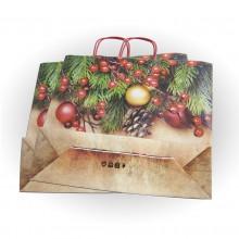 Bolsa de papel impresa para Navidad con asa retorcida o rizada.