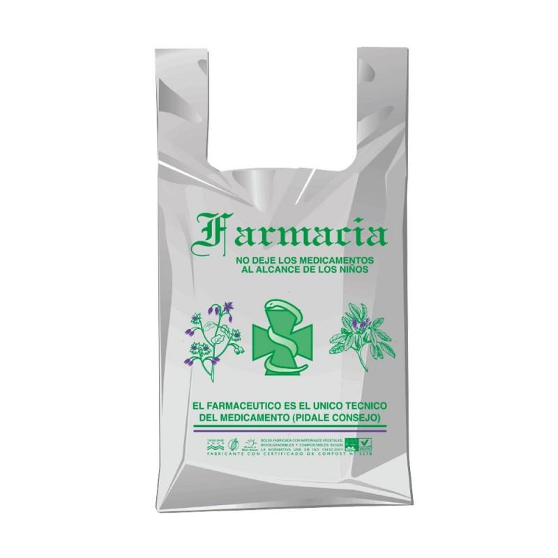 Bolsa de plástico reciclado gris para farmacia con una medida de 25/15x30 centímetros, contiene un 70% de material reciclado.
