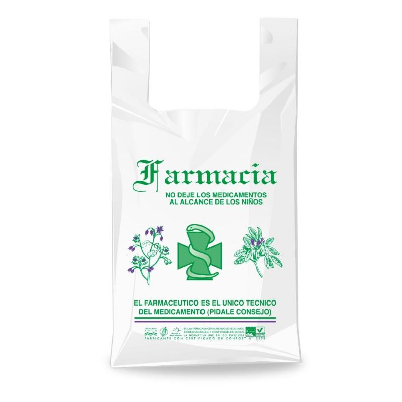 Bolsa de plástico reciclado para farmacia con una medida de 50/33x60 centímetros, contiene un 70% de material reciclado.