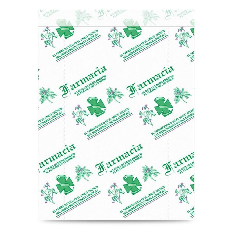 Sobre de papel blanco impreso para farmacia con asa plana con una medida 25+5x33 centímetros.