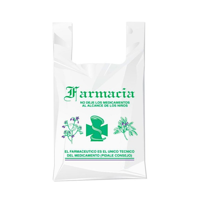 Bolsa compostable y biodegradable para farmacia con una medida de 30/19x35 centímetros