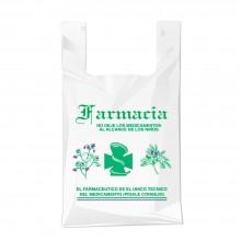 Bolsa compostable y biodegradable para farmacia con una medida de 35/23x40 centímetros.
