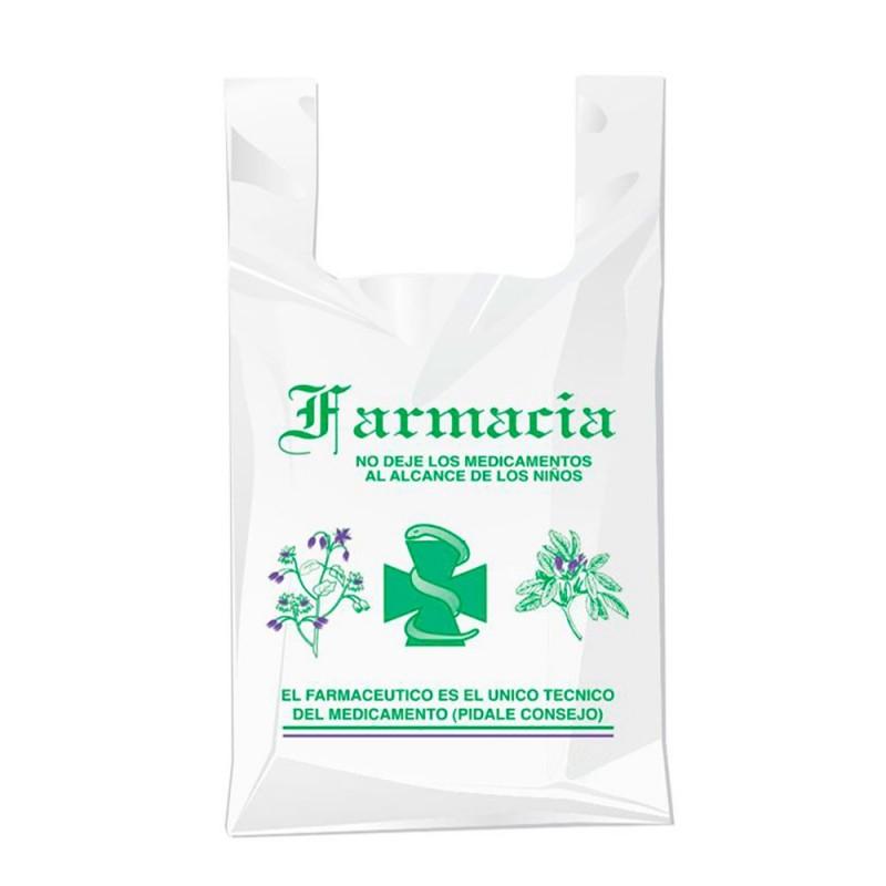 Bolsa compostable y biodegradable para farmacia con una medida de 40/26x50 centímetros.