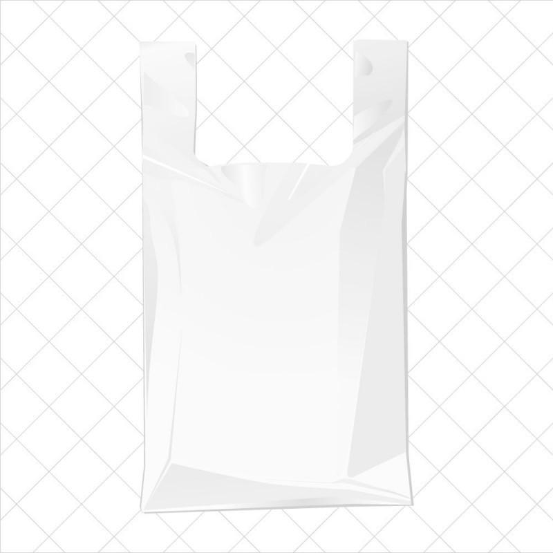 Bolsa de plástico blanca con asa de camiseta fabricada un 70% de material reciclado con una medida de 30/19x40 centímetros