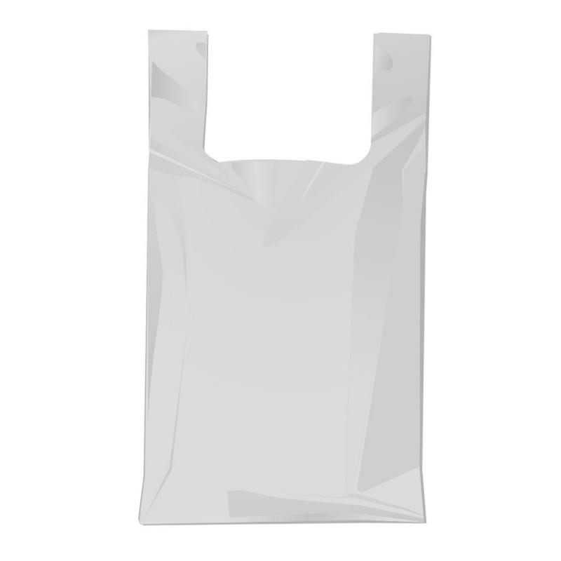 Bolsa de plástico gris fabricada con un 70% de material reciclado con una medida de 30/19x40 centímetros
