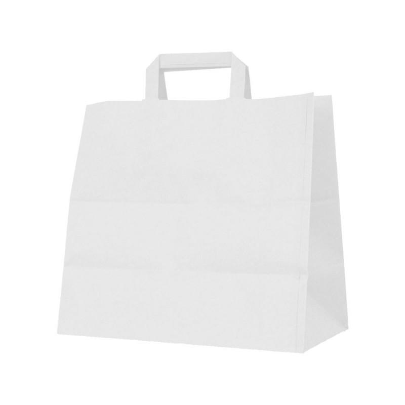 Bolsa de papel blanca con asa plana, fabricada con papel de color blanco de 100 gramos y con una medida 32+22x25. (take away)