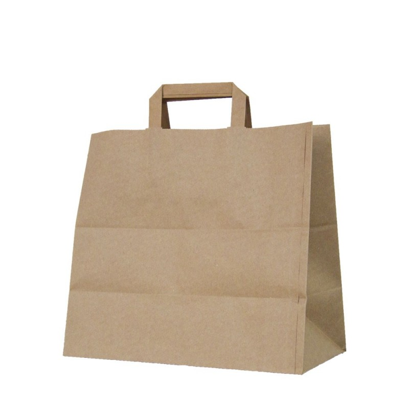 Bolsa de papel kraft con asa plana, fabricada con papel de color marrón de 100 gramos y con una medida 32+22x25cm (take away)