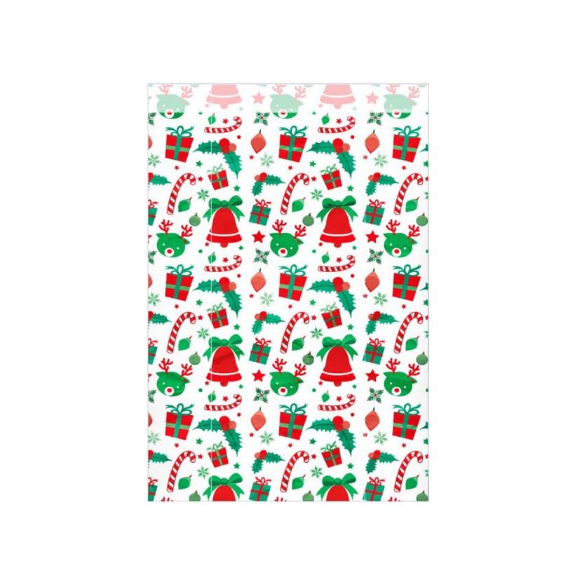 Sobre de papel impreso con motivos navideños, fabricada con papel de color blanco de 50 gramos y con una medida 25+5x40 cm