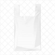 Bolsa de plástico blanca con asa de camiseta fabricada con un 70% de material reciclado con una medida de 55/35x60 centímetros